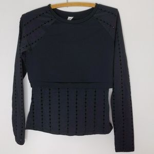 Fabletics Black Long Sleeve With Crop Top Over it